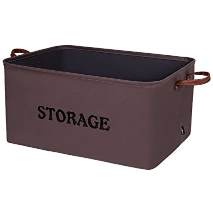 e03594488259 DOKEHOM 15-Inches Large Storage Baskets, Canvas Underbed Storage,  Collapsible Decorative Woven Canvas (Brown, M)