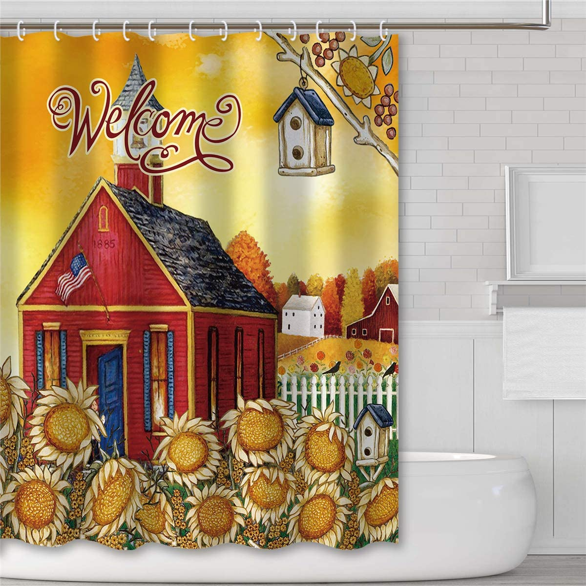 Tititex Harvest Welcome Fall Farmhouse Shower Curtain Sets, Autumn Bird Nest Sunflowers Bath Decorations Waterproof Polyester Fabric with Hooks, 69 X 70 Inches