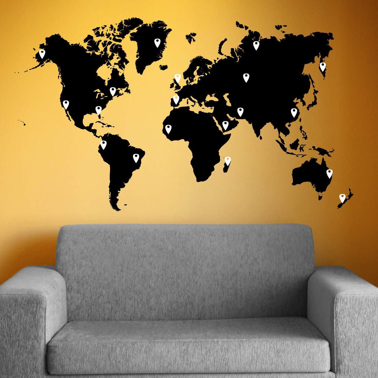 Amazon.com: Stickerbrand World Map Wall Decal Sticker w/ 224 Pins ...