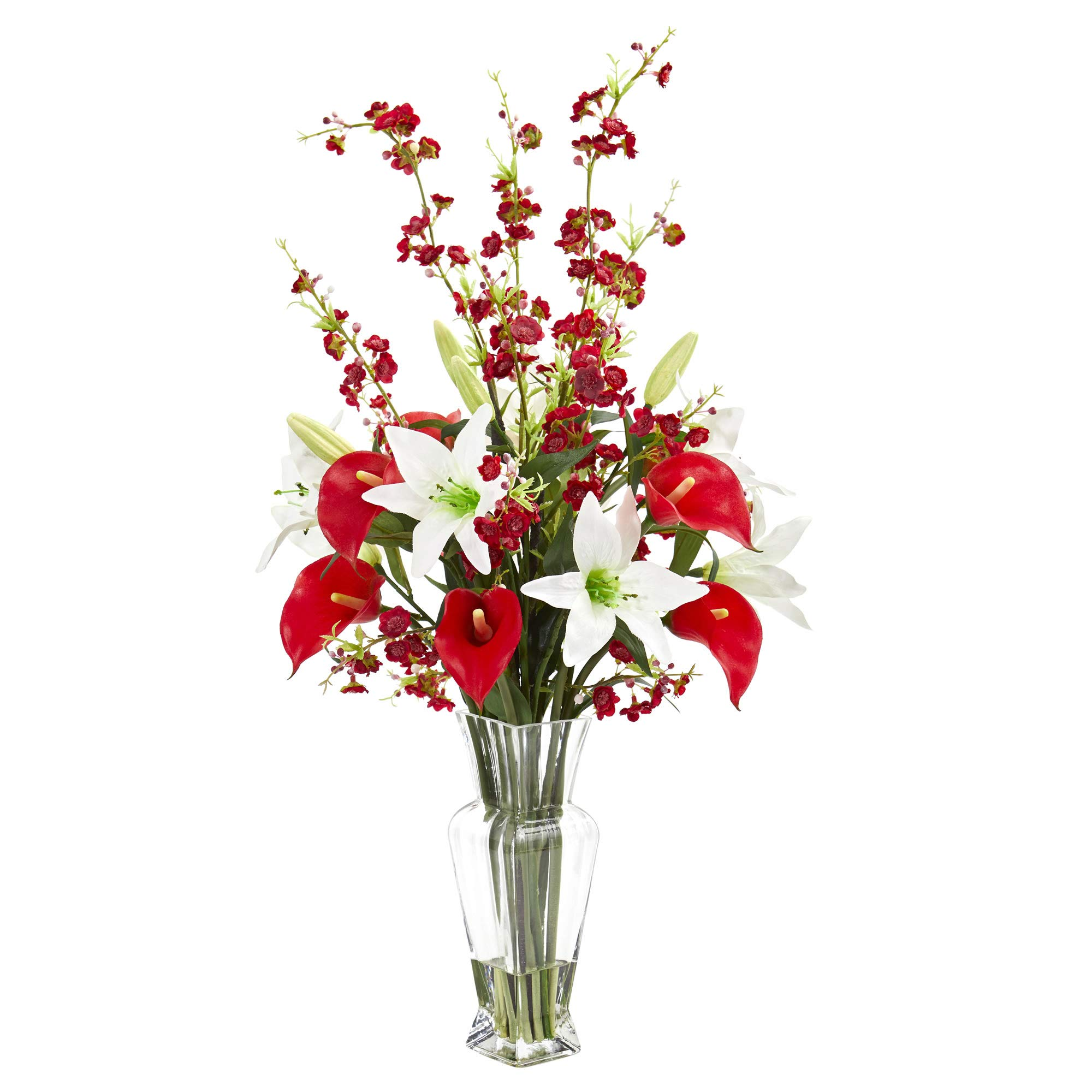 Nearly Natural 1776-RD Calla, Lily and Cherry Blossom Artificial Silk Arrangements, Red by Nearly Natural