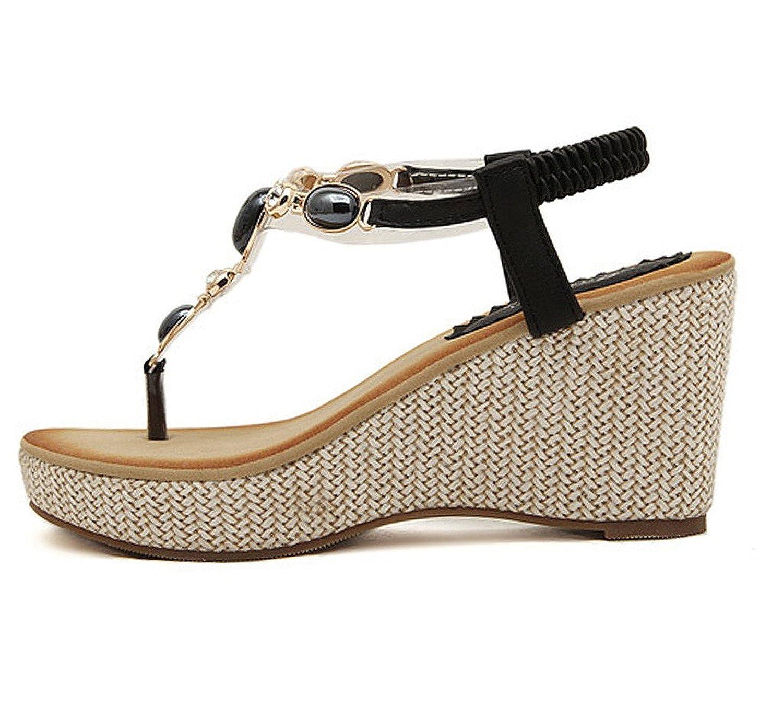 2b00c38c7aeccb ... Minetom Femme Fille Perlé Chaussures Eté Sandales Compensées T Sangle  Tongs Mode Été Des Sandales ...