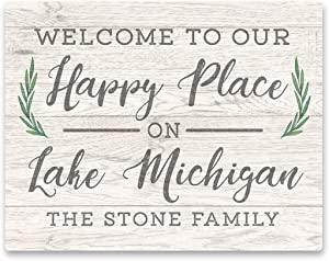 Personalized Welcome to Our Happy Place on Lake Michigan Wall Art - 11 X 14 Weathered Text and Wood Look on Aluminum Panel