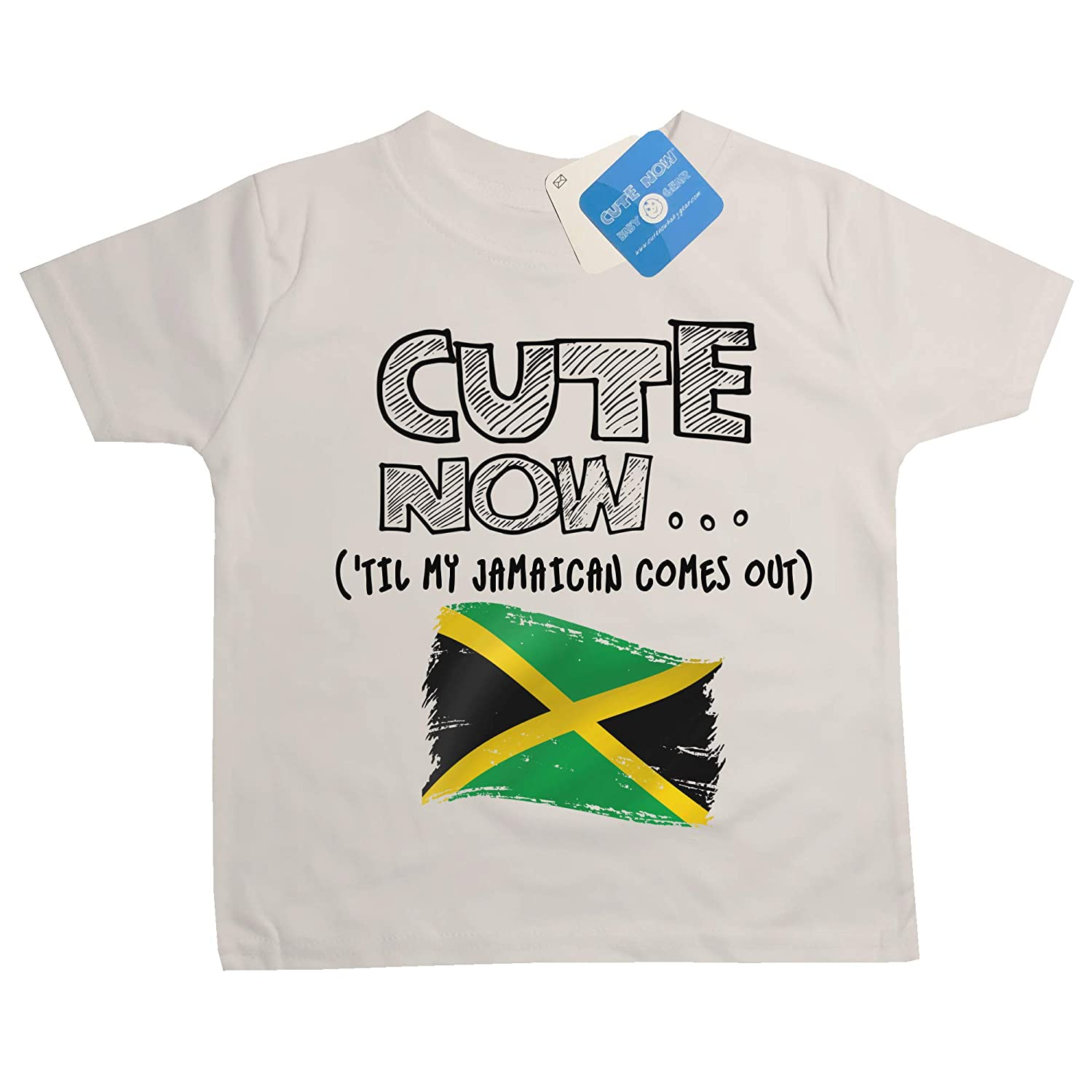 Cute Now Toddler Jamaica T-Shirt Til My Jamaican Comes Out Kids Shirt Top in White 2T-4T