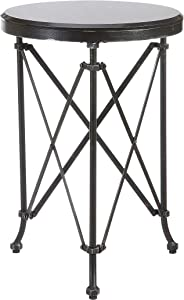 Creative Co-op Metal Table, 28, Black with Marble Top