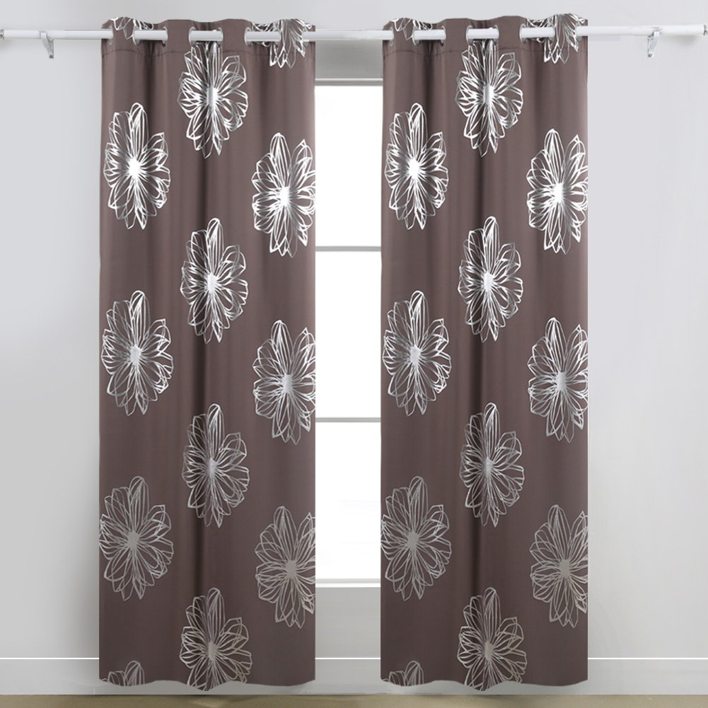 Deconovo Foil Print Flower Design Thermal Insulated Window Blackout Curtain Khaki