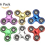 Fidget Spinner ADHD Anxiety Toys 6 Pack Party Favor Stress Relief Reducer Spin for Adult Kid Student Class Autism Fidgets Best EDC Hand Spinners Bearing Finger Toy Focus Fidgeting Restless SCIONE