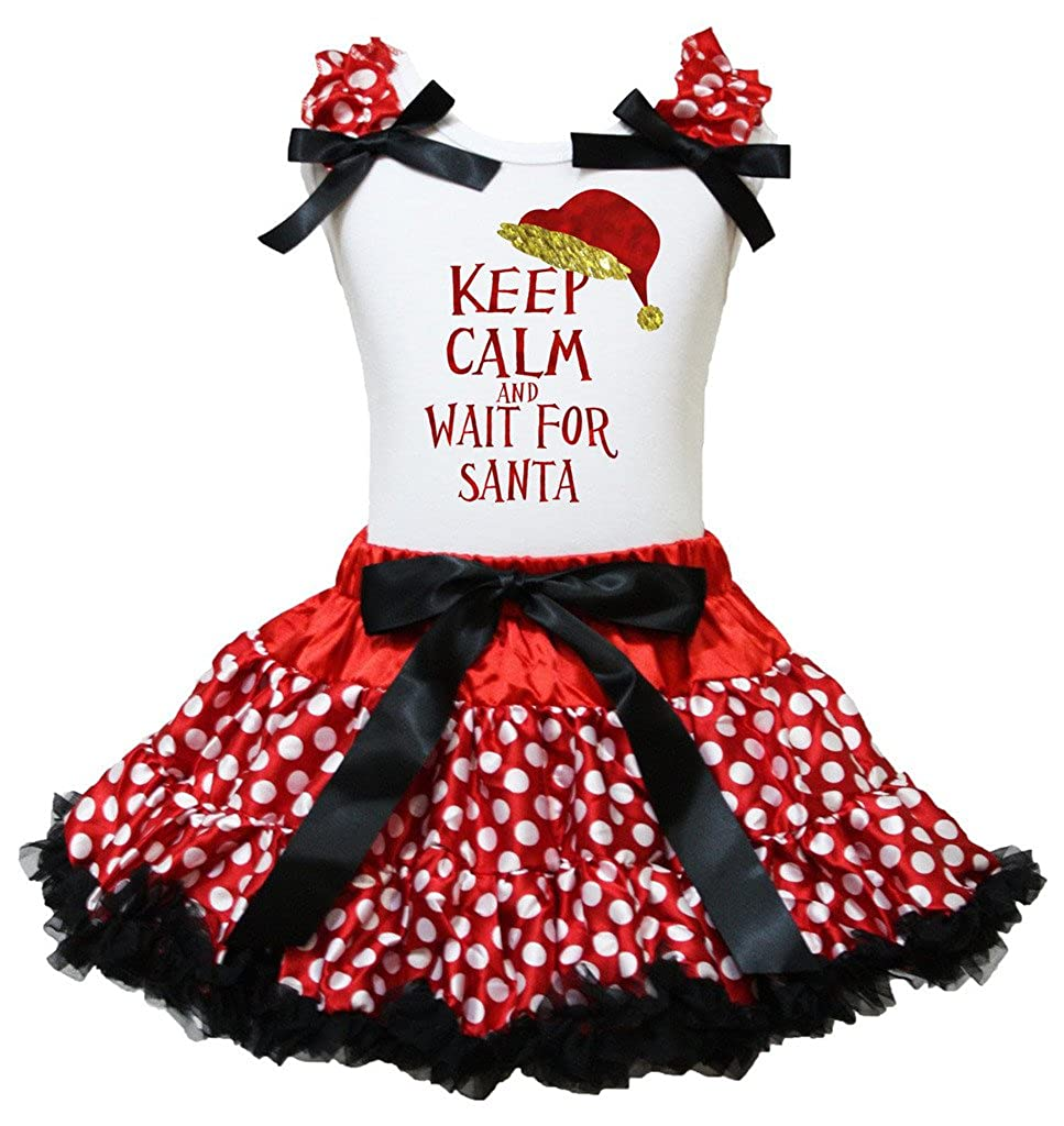 Petitebella Keep Clam Wait Santa White Shirt Red Polka Dots Outfit Set 1-8y