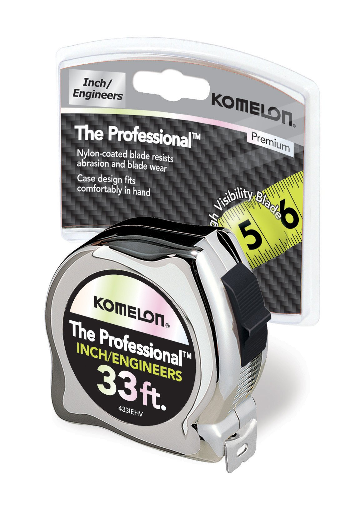 Komelon 433IEHV High-Visibility Professional Tape Measure both Inch and Engineer Scale Printed 33-feet by 1-Inch, Chrome by Komelon