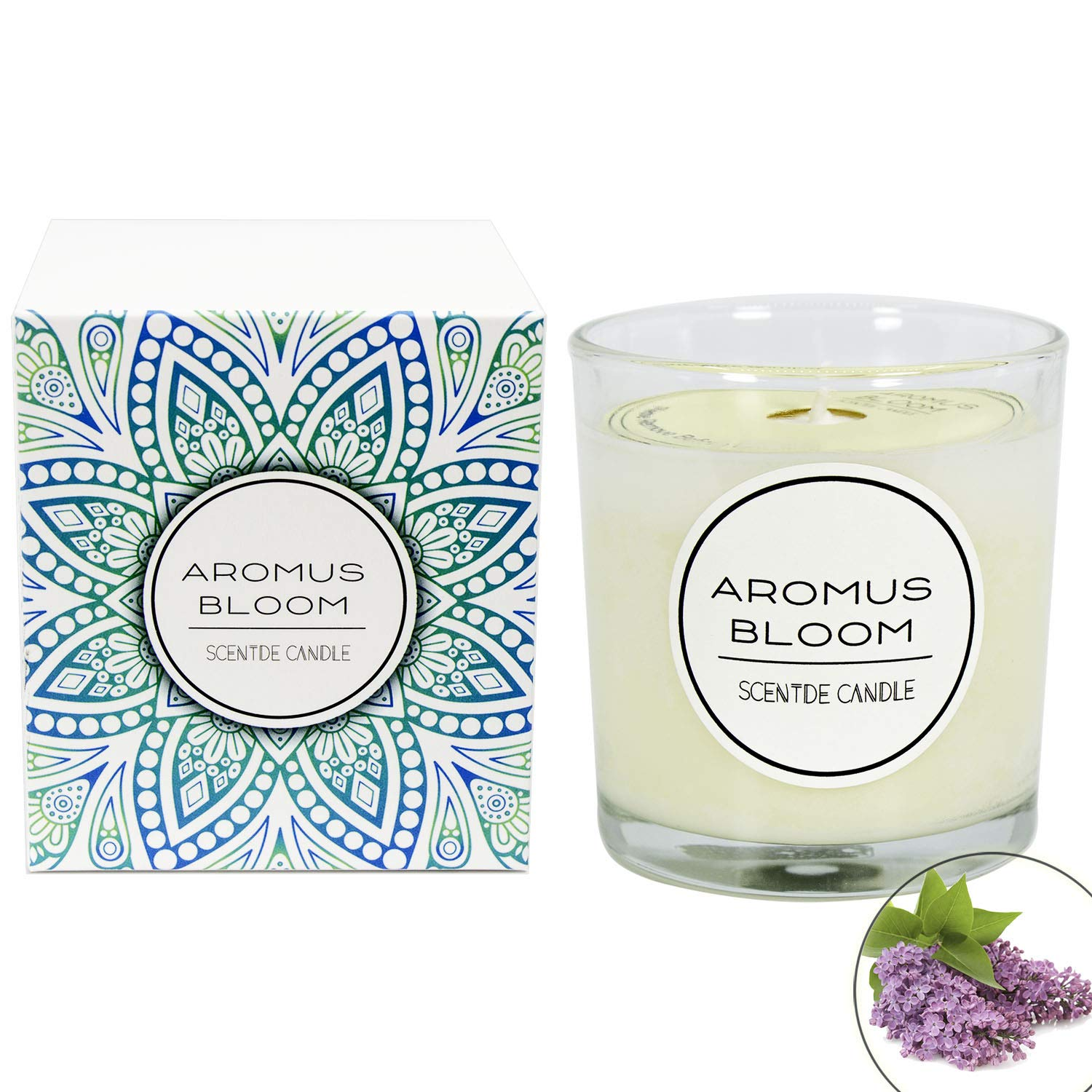 AromusBloom Natural Essential Oils Scented Candle Gift, 100% Eco-Friendly Soy Wax Aromatherapy Candle, Vanilla/Geraniums/Lemon/Jasmine/Lavender etc. 10 Scents(Gardenia)