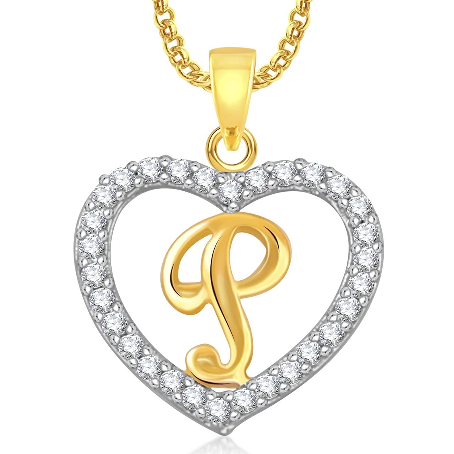 Buy Valentine Gifts Amaal Heart U0027Pu0027 Alphabet Pendant For Girls U0026 Women With  Chain PS0408 Online At Low Prices In India | Amazon Jewellery Store    Amazon.in  P & L Form