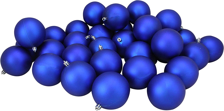 32ct Matte Royal Blue Shatterproof Christmas Ball Ornaments 3.25 80mm