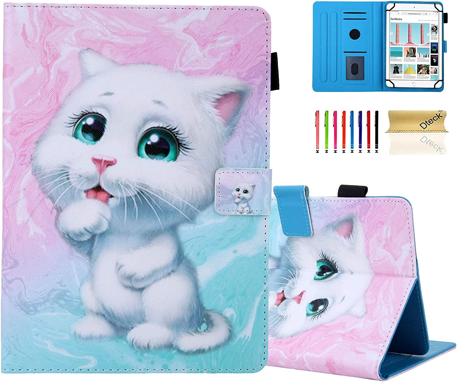 "9.7 Inch Universal Tablet Case - Dteck Protective Leather Wallet Flip Case with Card Slots for iPad 9.7"" 10.2"" 10.5"" /Samsung 9.6"" 10.1"" 10.5"" / Android Windows 10 Inch/Lenovo 10.1 Tablet (White Cat)"