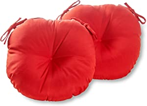 South Pine Porch AM5817S2-SALSA Solid Salsa Red 18-inch Round Outdoor Bistro Chair Cushion, Set of 2