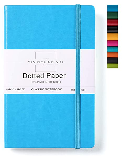 Minimalism Art, Classic Notebook Journal, A4 Size 8.3 X 11.4 inches, Blue, Dotted Grid Page, 192 Pages, Hard Cover, Fine PU Leather, Inner Pocket, ...