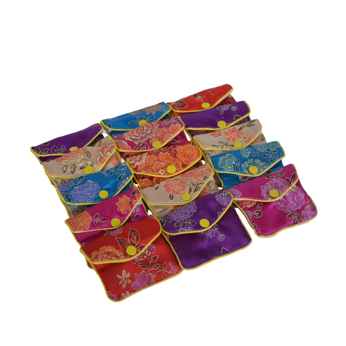 Baitaihem 15 Pack Jewelry Purse Pouch Gift Bags Chinese Silk Style Brocade Embroidered Bag, Multiple Colors(Small) MJ002