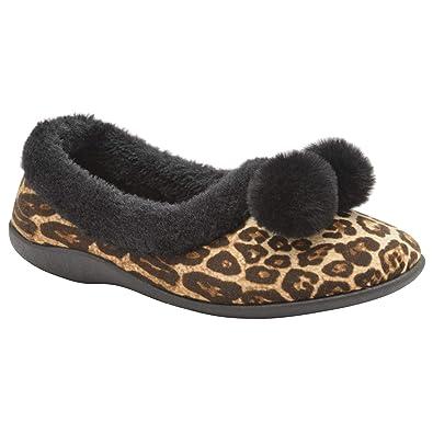 e3449706c1d3 Dunlop Womens Ladies Cordelia Faux Fur Leopard Print Pom Pom Ballerina  Slippers  Amazon.co.uk  Shoes   Bags