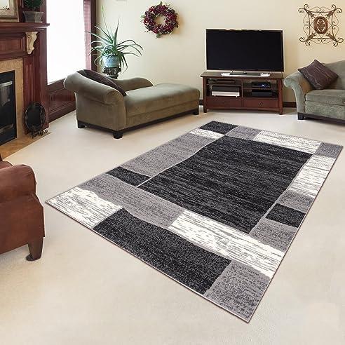 amazon.de: tapiso designer teppich wohnzimmer meliert bordüre in ... - Teppich Wohnzimmer Grau