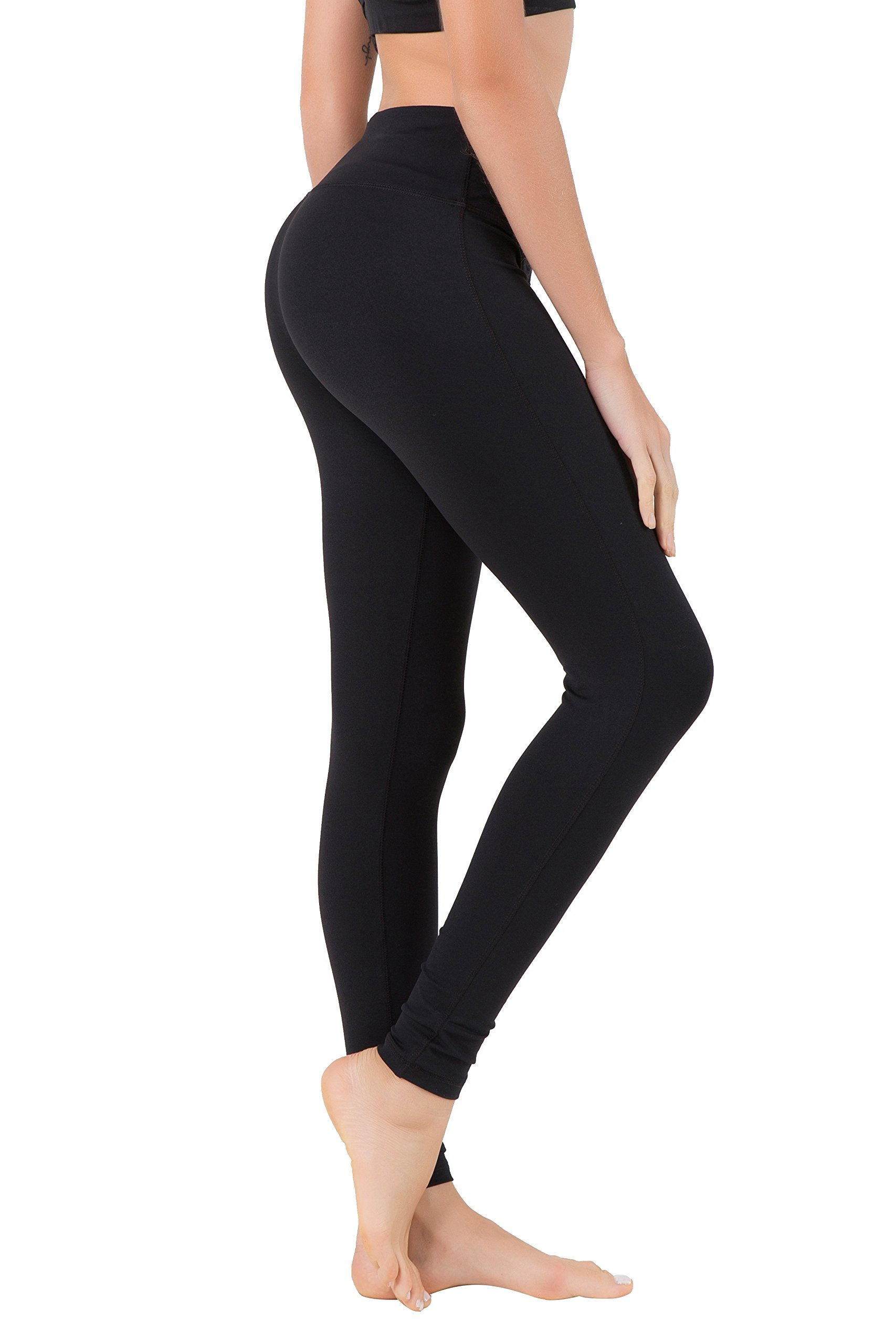 Queenie Ke Women Power Stretch Plus Size Mid-Waist Yoga Pants Running Tights Size XS Color Black with Underwear