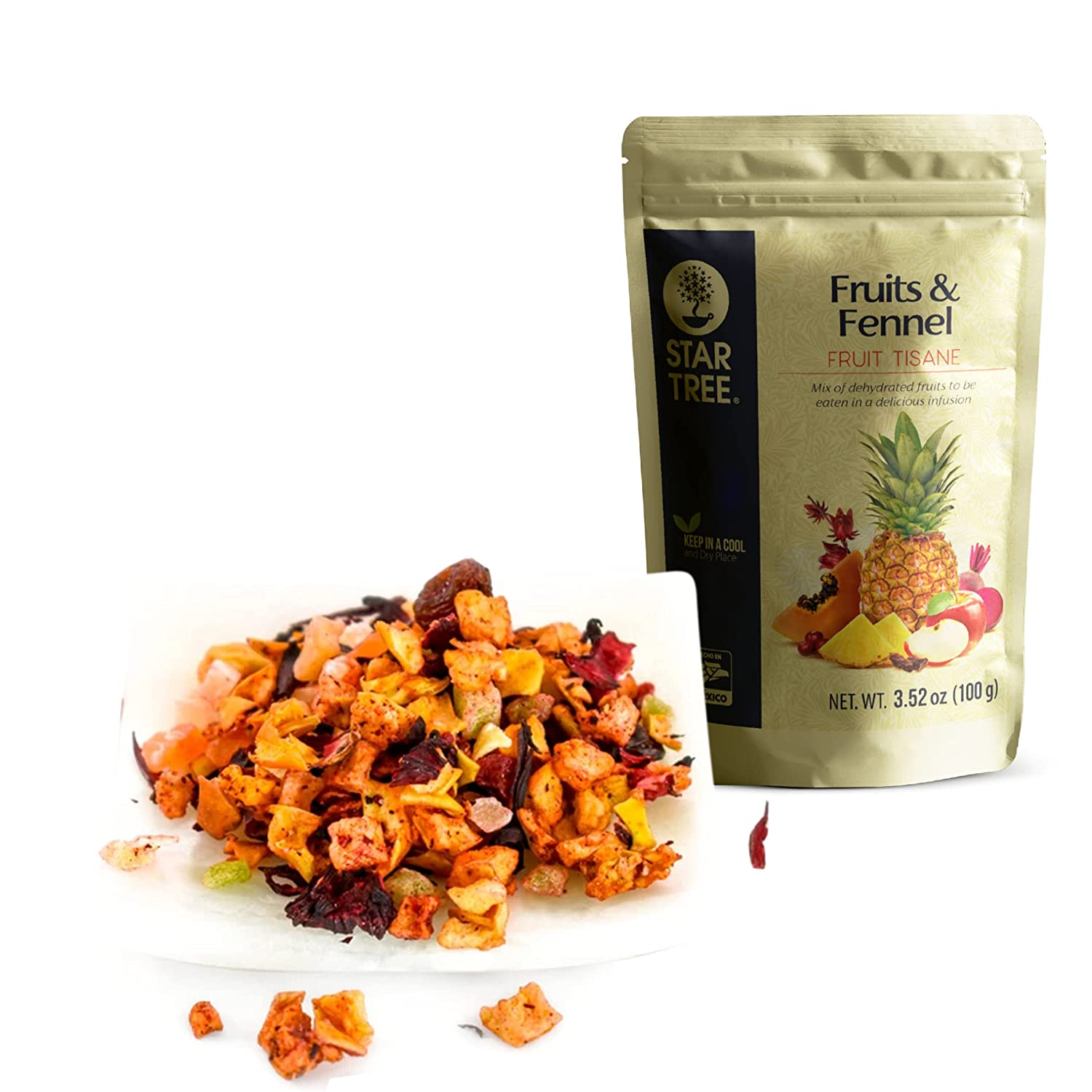 STAR TREE, Fruits and Fennel Infusion, blend of dehydrated apple, papaya, pineapple, cranberries, raisins, hibiscus and beetroot infused with fennel essential oil