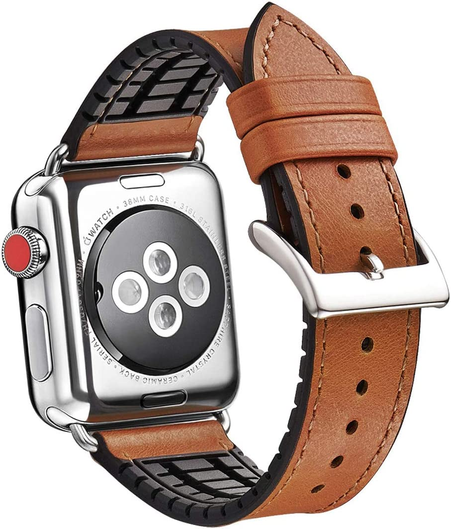 WFEAGL Compatible iWatch Band 38 40mm,Top Grain Leather And Nature Rubber Hybrid Sweatproof Band for iWatch Series 5,Series4,Series 3,Series 2,Series 1,Sport (38mm 40mm Brown Hybrid Band)