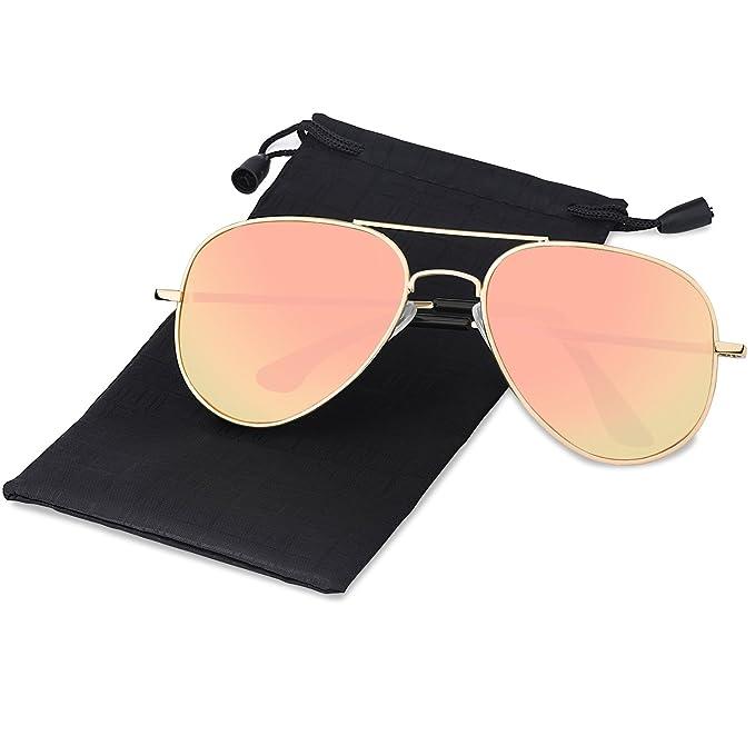 Elimoons Hombre Mujer Gafas de Sol Aviador Polarizadas UV 400 Lente de Protección (03-