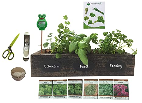 Outdoor Herb Garden Kit.Complete Herb Garden Kit Cedar Wood Planter 6 Heirloom Seeds Soil Instructions Free Herb Scissors Garlic Press Moisture Meter Wicker