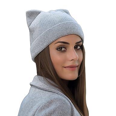 a889cf88ff0 Petalum Bonnet Femme Hiver Chapeau Tricoté avec Oreille Beanie Hats Gris