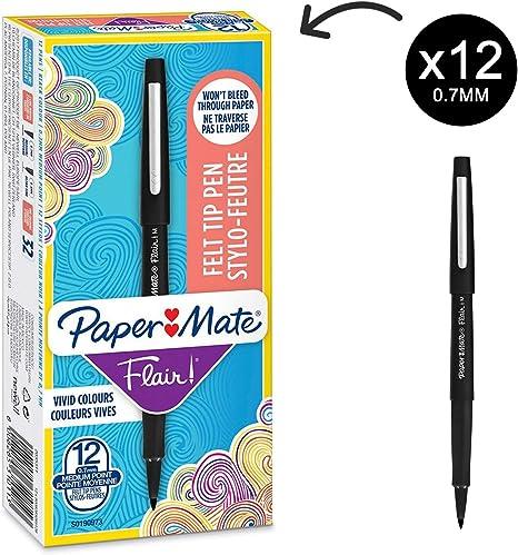 haut de gamme authentique bons plans sur la mode vente discount Paper Mate Flair Felt Tip Pens, Medium Point (0.7mm), Black, Box of 12