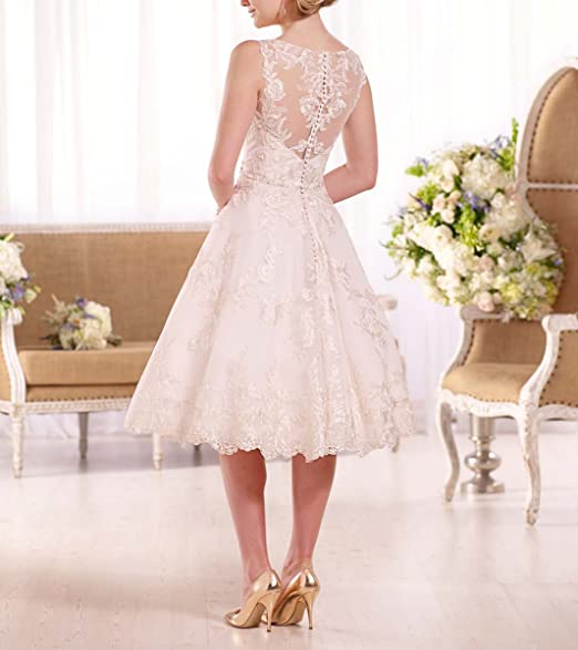 Fishlove Vintage Inspired Vestidos De Novia Rustic Tea Length Lace Bridal Wedding Dresses W29 at Amazon Womens Clothing store: