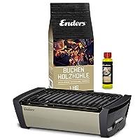 Aurora Enders Tischgrill schwarz klein Balkon Camping Picknick ✔ eckig ✔ tragbar rauchfrei ✔ Grillen mit Holzkohle ✔ für den Tisch