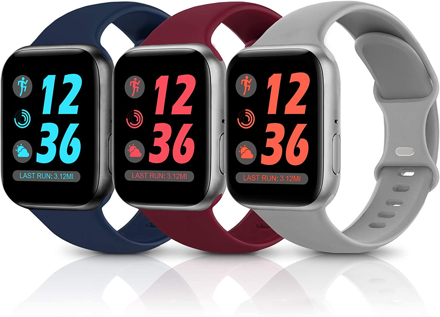 Sport Silicone Band Compatible with Apple Watch Bands 38mm 40mm 42mm 44mm,Soft Replacement Wristbands for iWatch Series 1/2/3/4/5/6/SE,Women Men,3 Pack(Wine Red/Navy Blue/Grey,42mm/44mm-S/M)