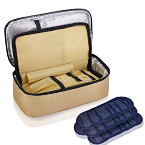 ALLCAMP Insulin Cooler Travel Bag for Diabetic Organize Medication with 4 Ice Pack and Insulation Liner (Khaki)