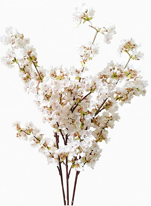 Amazon Com Artificial Cherry Blossom Branches Flowers Stems Silk Tall Fake Flower Arrangements For Home Wedding Decoration 39 Inch 3 Pcs Ivory Kitchen Dining