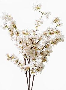 Ahvoler Artificial Cherry Blossom Branches Flowers Stems Silk Tall Fake Flower Arrangements for Home Wedding Decoration,39 Inch (3 pcs Ivory)