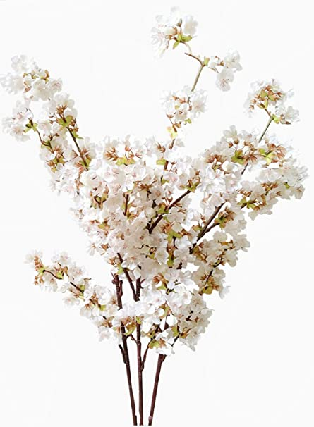 Amazon artificial cherry blossom branches flowers stems silk artificial cherry blossom branches flowers stems silk tall fake flower arrangements for home wedding decoration mightylinksfo