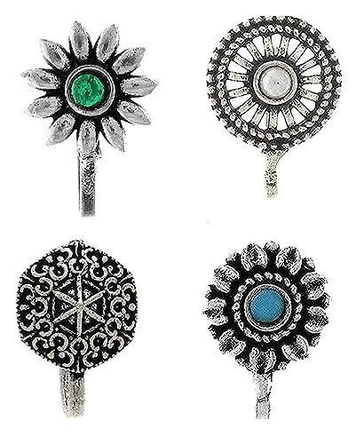 Buy Anuradha Art Silver Colour Adorable Combo Nose Pin Press On