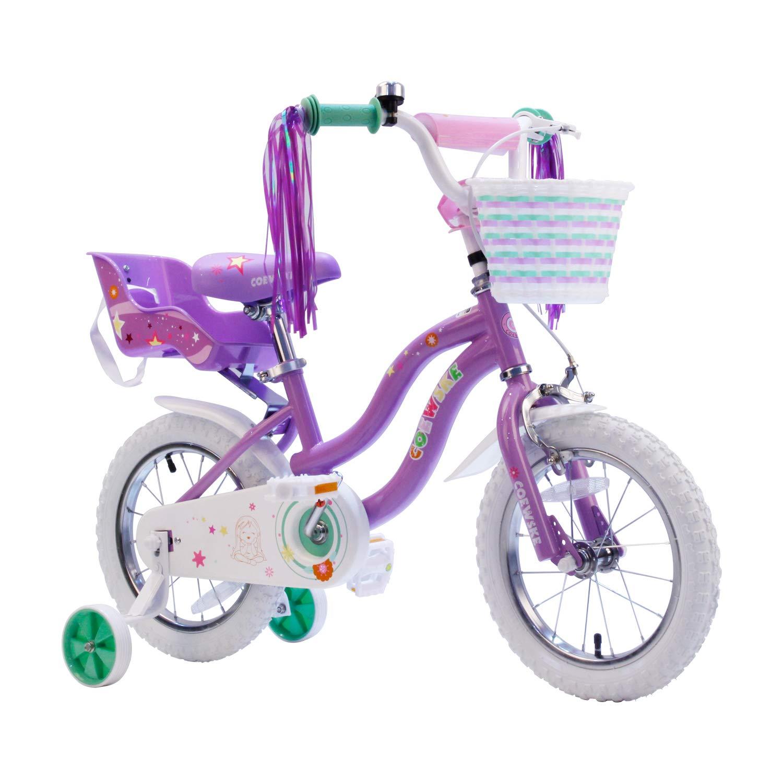 COEWSKE Kid's Bike Steel Frame Children Bicycle Little Princess Style 14-16 Inch with Training Wheel (Light Purple, 14 Inch)