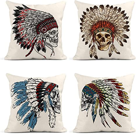 set of 2 Native American Headdress Water Color cushion cover decorativ