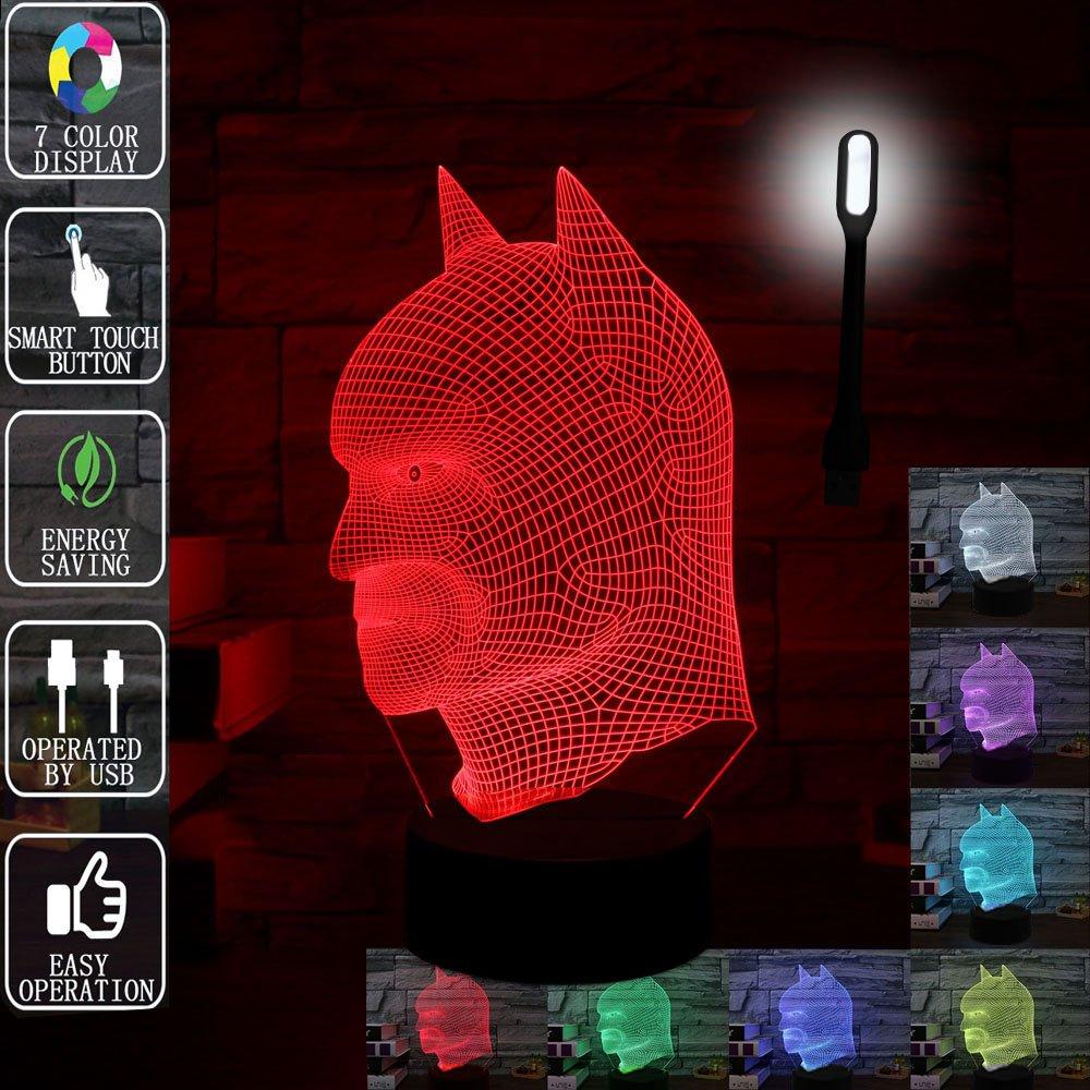 ギフトアイデアナイトライト3dイリュージョンランプ動物ライトLEDデスクランプユニークなギフト赤ちゃんホーム装飾オフィス寝室ウェディングパーティーデコレーション子供部屋照明7色 LLAM03 B075QKP56N 14711 バットマン バットマン
