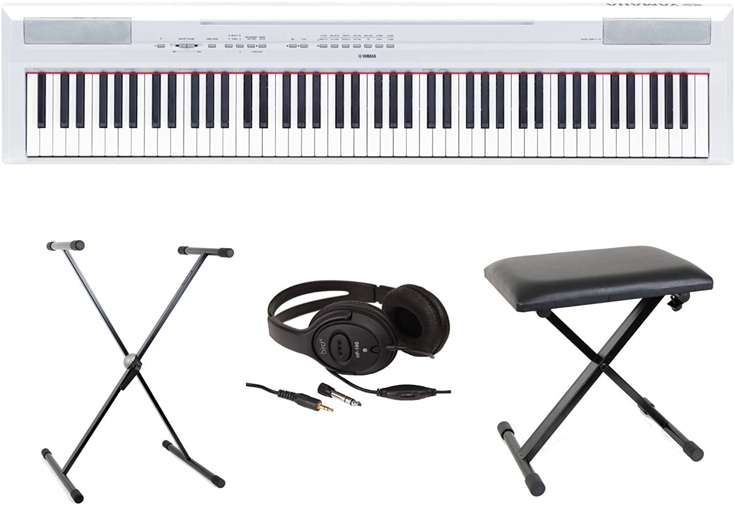 Yamaha P115 - Piano digital portátil, color blanco, pack completo ...