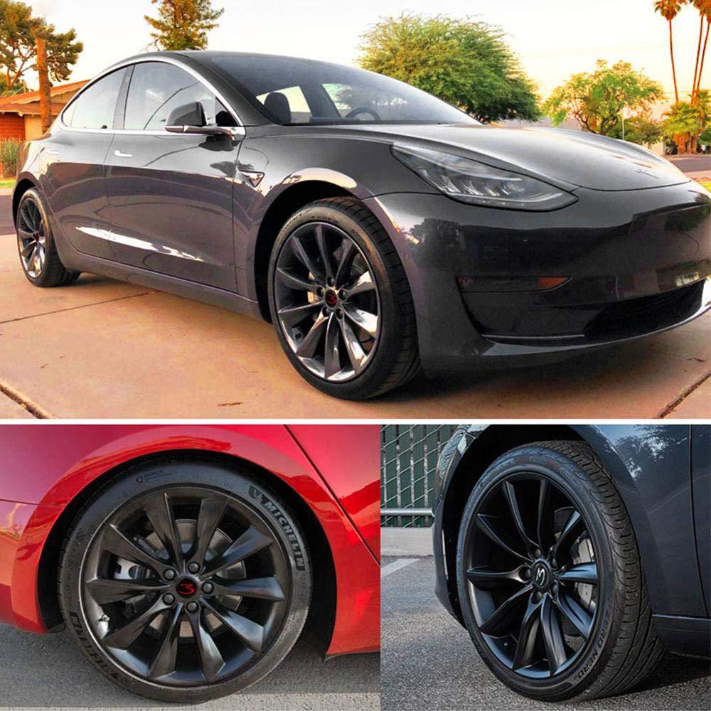 Tire Center Modified Accessories Foonee Tesla Model 3 Car Wheel Logo Hub Center Caps Cover Emblem Set of 4