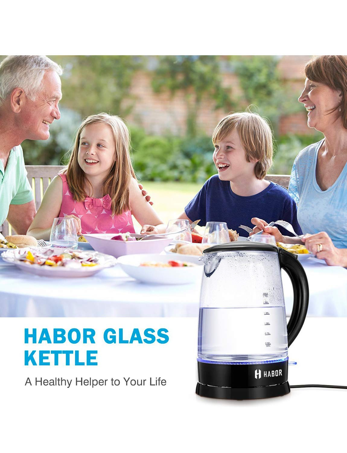 Habor Electric kettle, Water Boiler 1500W Fast Heating Tea Pot, 1.8 Quart (1.7 L) Blue LED Lights Bright Glass Body, Auto Shut-Off Boil-Dry Protection Stainless Steel Inner Lip by Habor (Image #8)