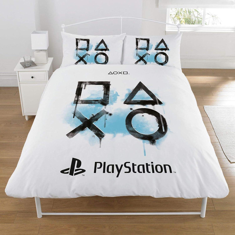 Sony Playstation - Juego de Funda nórdica, algodón poliéster, Blanco, Doublé