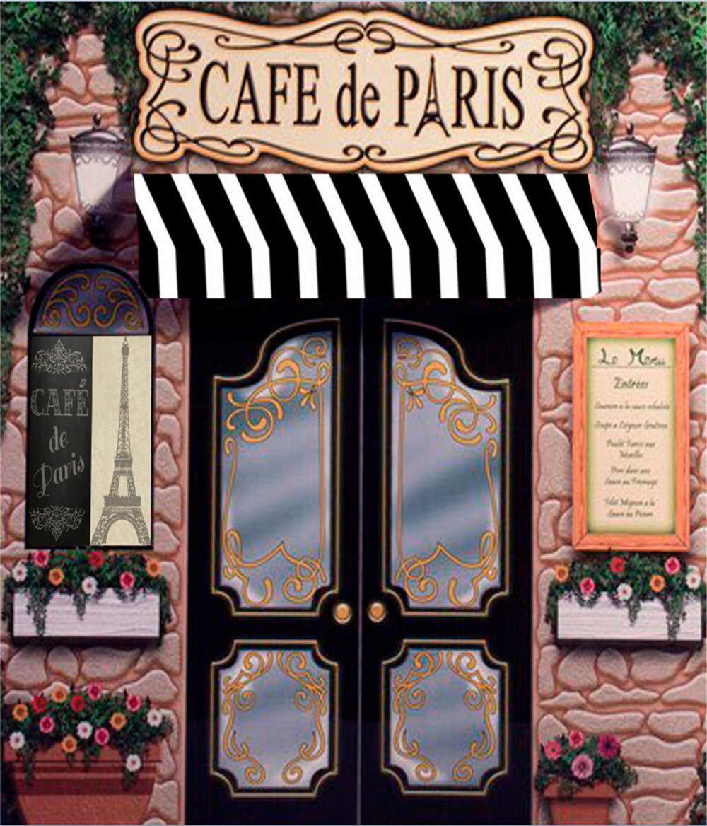 Cafe De Paris レトロストーン コーヒーストア エッフェル塔パターン 写真背景 カスタム写真スタジオ背景幕 結婚式の写真撮影用   B07PD2TNRR