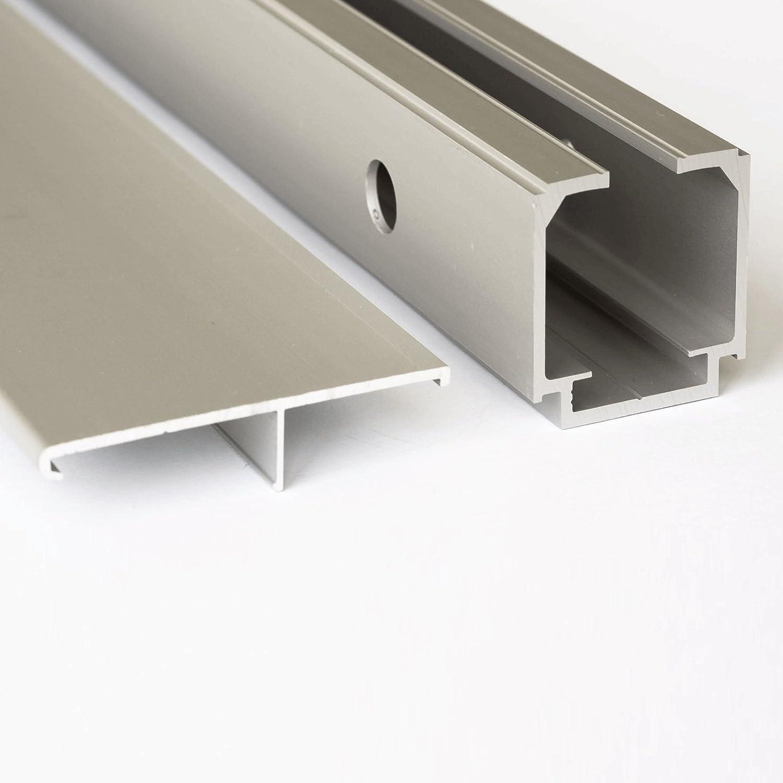 2seitiger Softclose inova Holz-Schiebet/ür 755 x 2035 mm wei/ß Alu Komplettset mit Lauf-Schiene und Quadratgriff inkl
