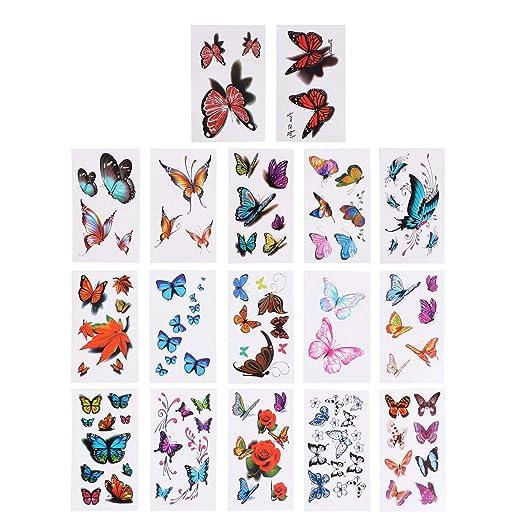 LURROSE 16 UNIDS Flor Mariposa 3D Etiqueta engomada Impermeable ...