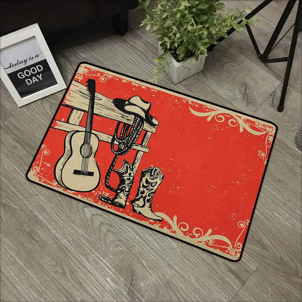 Hall mat W31 x L47 INCH Western,Image of Wild West Elements with Country Music Guitar and Cowboy Boots Retro Art, Beige Orange Natural dye printing to protect your baby's skin Non-slip Door Mat Carpet by MsShe