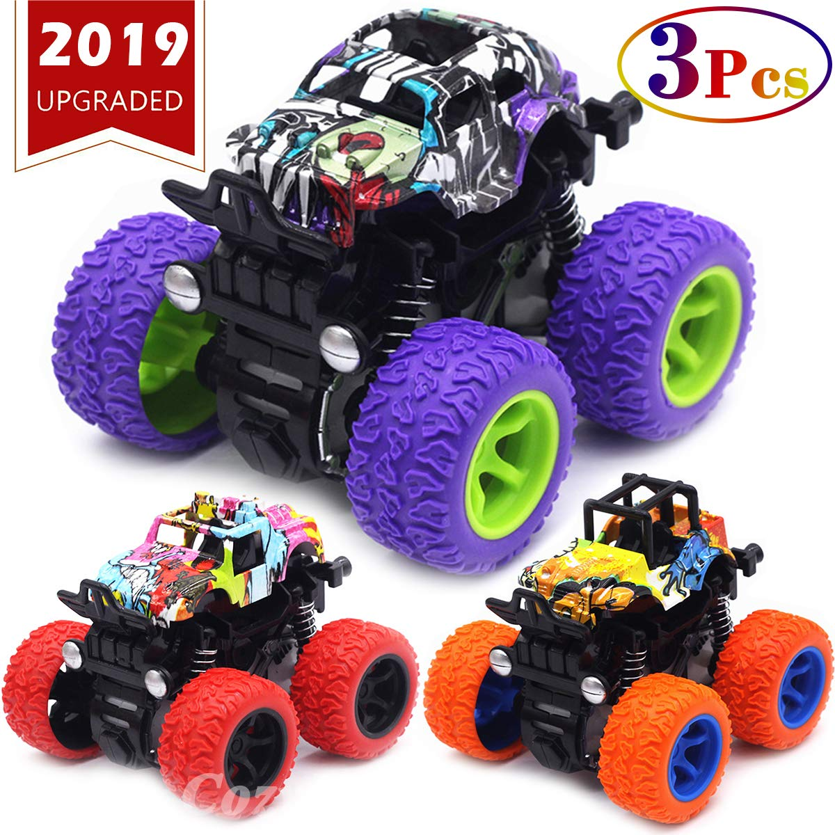Monster Trucks Toys for Boys - Friction Powered 3-Pack Mini Push and Go Car Truck Jam Playset for Boys Girls Toddler Aged 2 3 4 5 Year Old Gifts for Kids Birthday (Purple, Red, Orange, 3-Pack) by CozyBomB