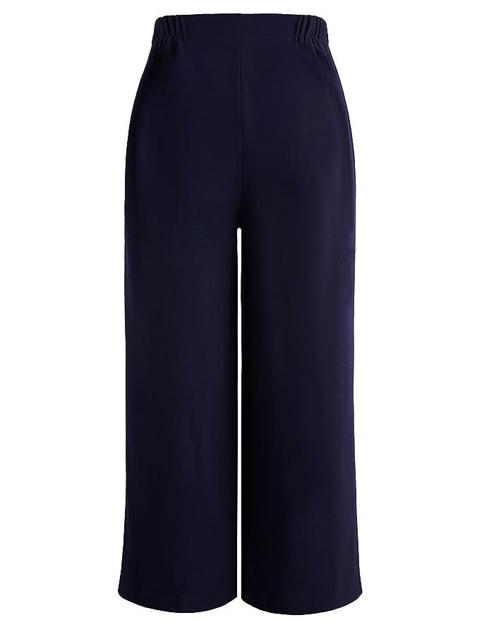 3d1328a4ea Chicwe Donna Taglie Forti Curvy Fit Cropped Pantaloni Ritagliata con Gamba  Larga Cintura Larga - Pantaloni da Lavoro e Casual