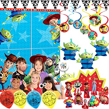 Toy Story 4 Birthday Party Supplies and Decorations Pack With Toy Story Scene Setter, Photo Props, Balloons, Swirls, Honey Comb Deco, Cowboy Cow Print ...